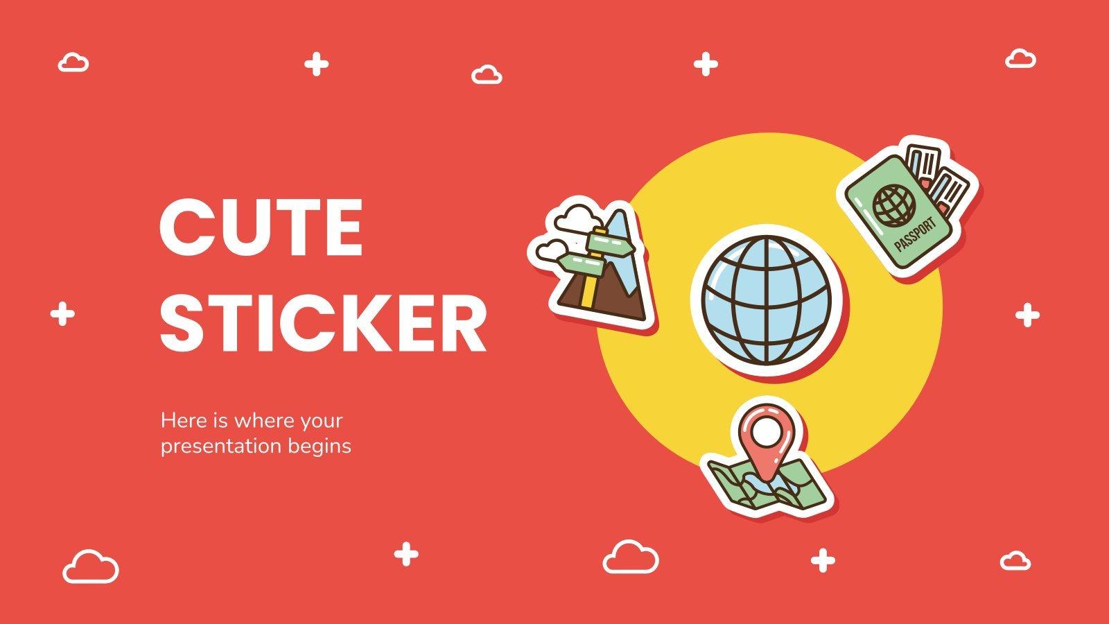Cute Sticker presentation template