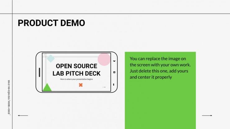Plantilla de presentación Pitch deck laboratorio de código abierto