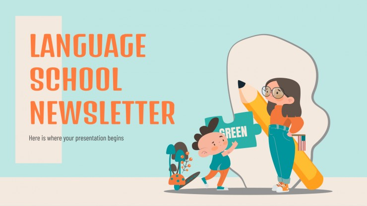 Language School Newsletter presentation template