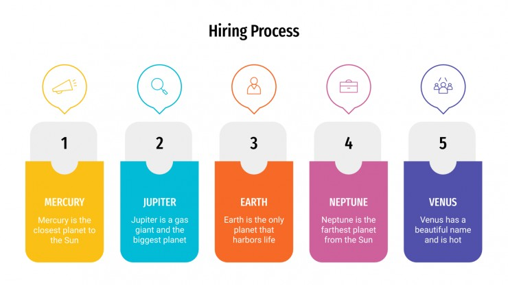 Modelo de apresentação Infográficos de processo de contratação
