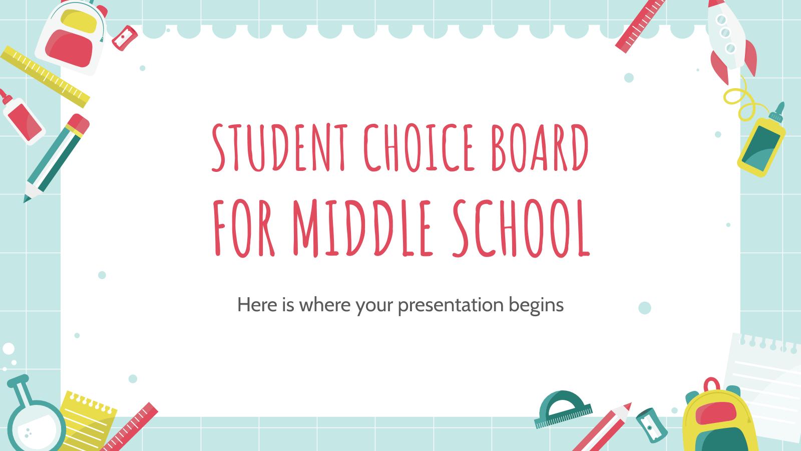Tableau de sélection pour les collégiens : Modèles de présentation