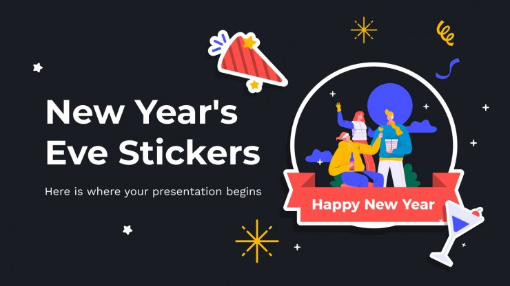 New Year's Eve Stickers presentation template