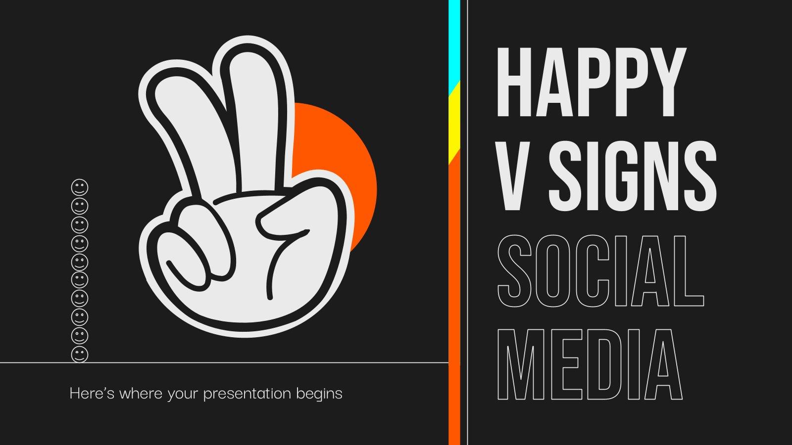 V-Zeichen Soziale Medien Präsentationsvorlage
