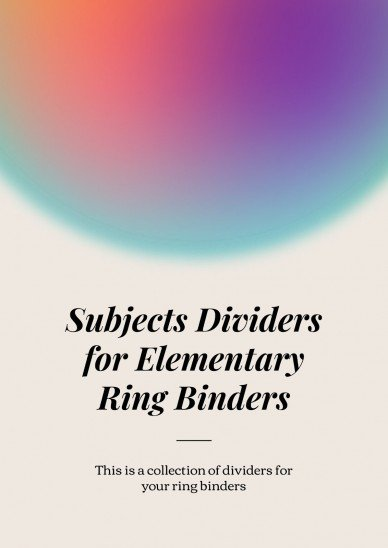 Subjects Dividers for Elementary Ring Binders presentation template