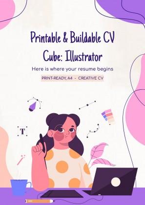 Plantilla de presentación CV en forma de cubo: ilustrador