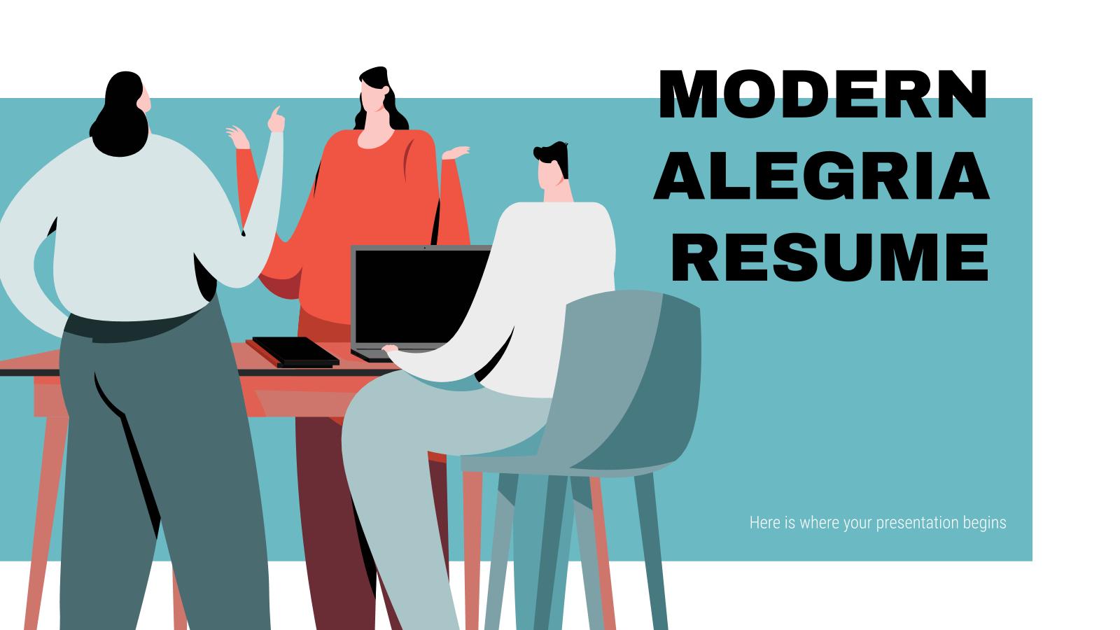 Modern Alegria Resume presentation template