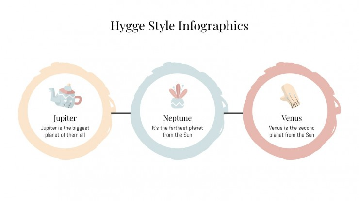 Modelo de apresentação Infográficos do estilo hygge