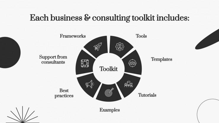 Plantilla de presentación Herramientas para consultores con formas simples