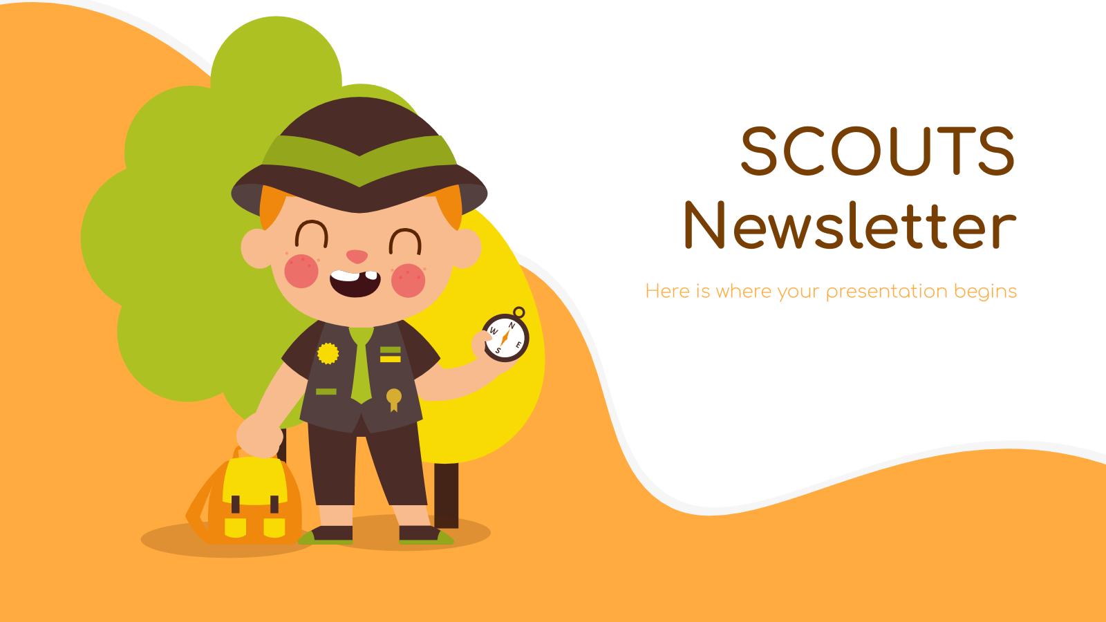Plantilla de presentación Newsletter para scouts