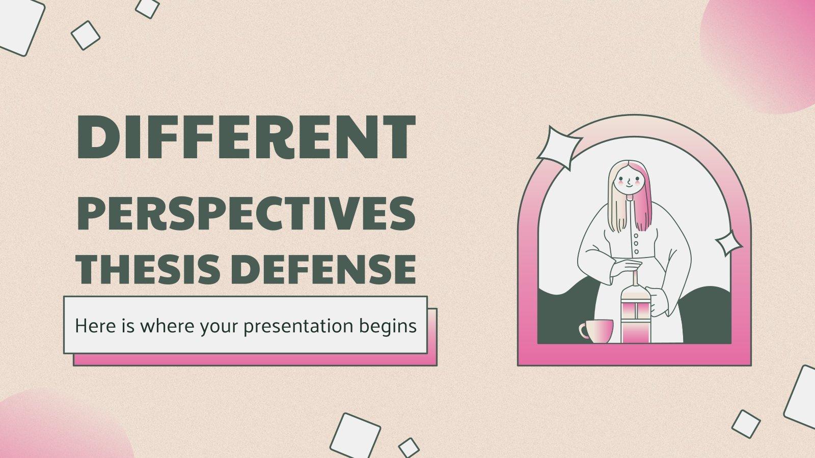 Plantilla de presentación Defensa de tesis con diferentes perspectivas