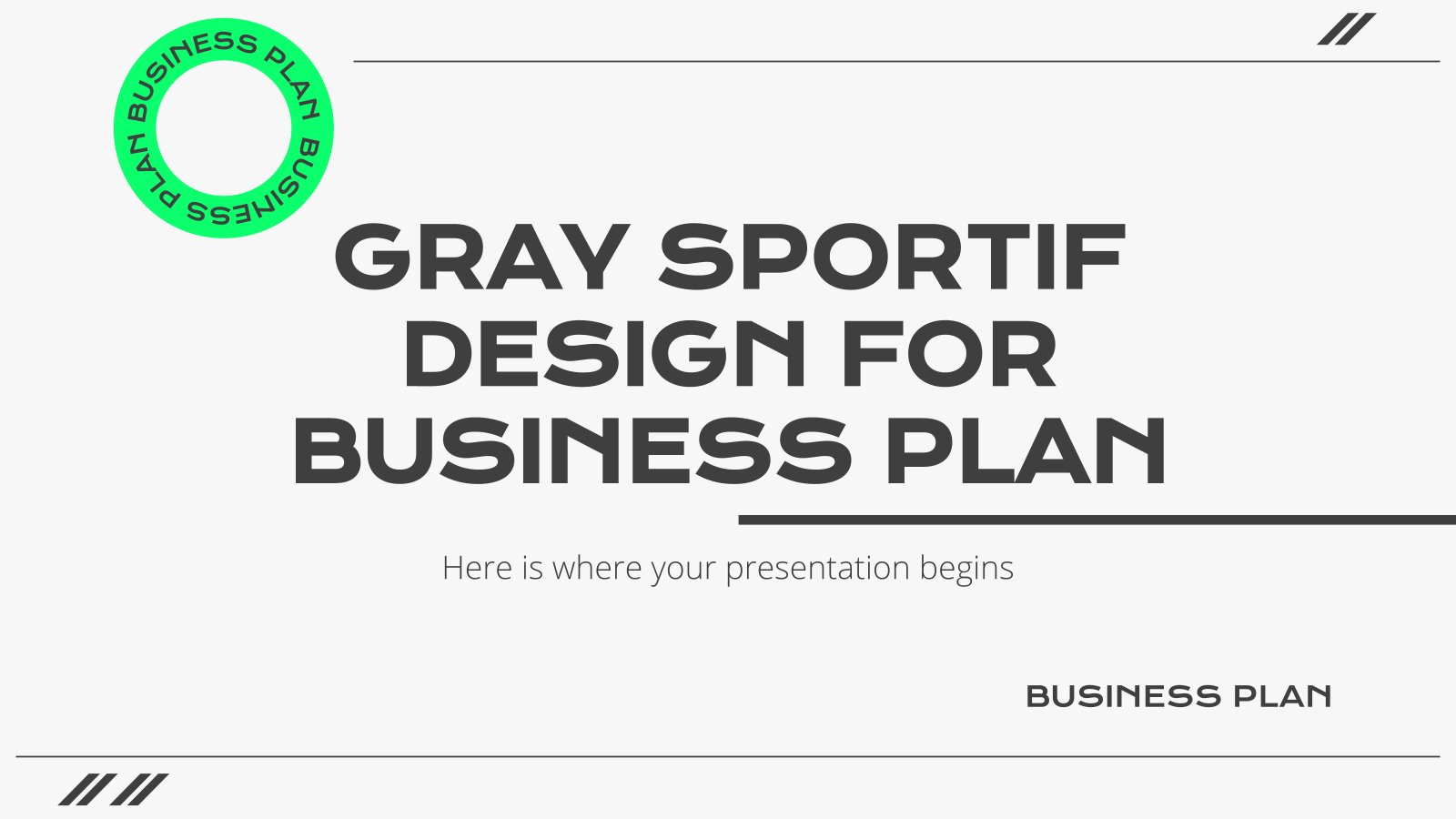 Gray Sportif Design for Business Plan presentation template