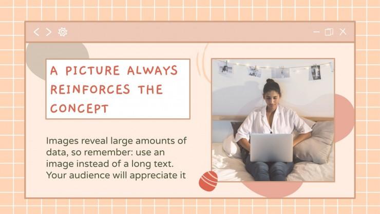 Plantilla de presentación Interfaz kawaii para marketing