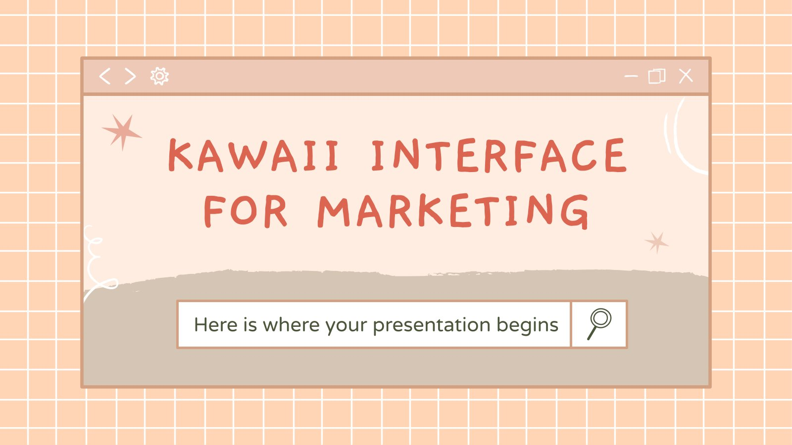 Plantilla de presentación Interfaz kawaii para marketing