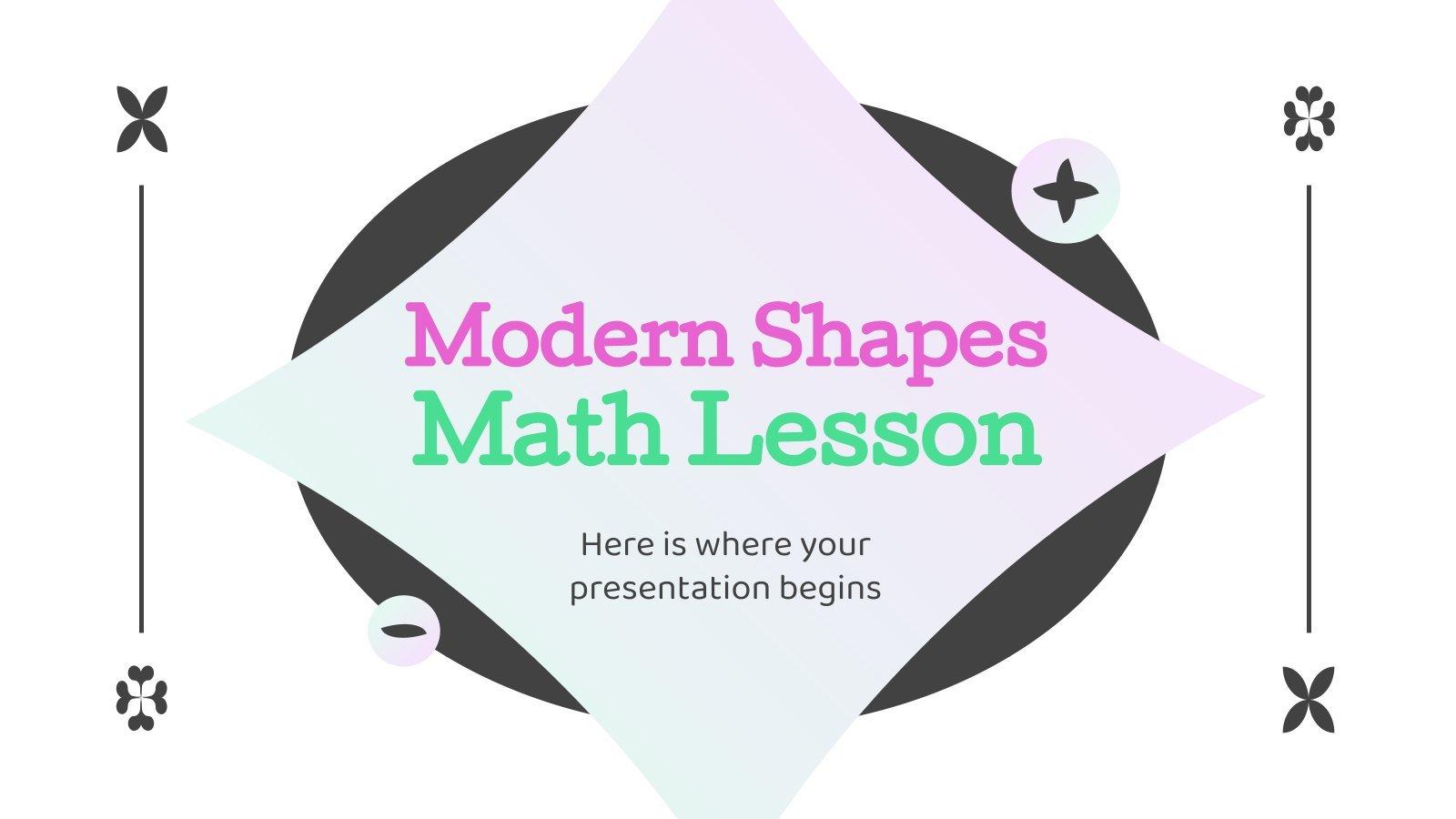 Modelo de apresentação Aula de matemática com formas modernas
