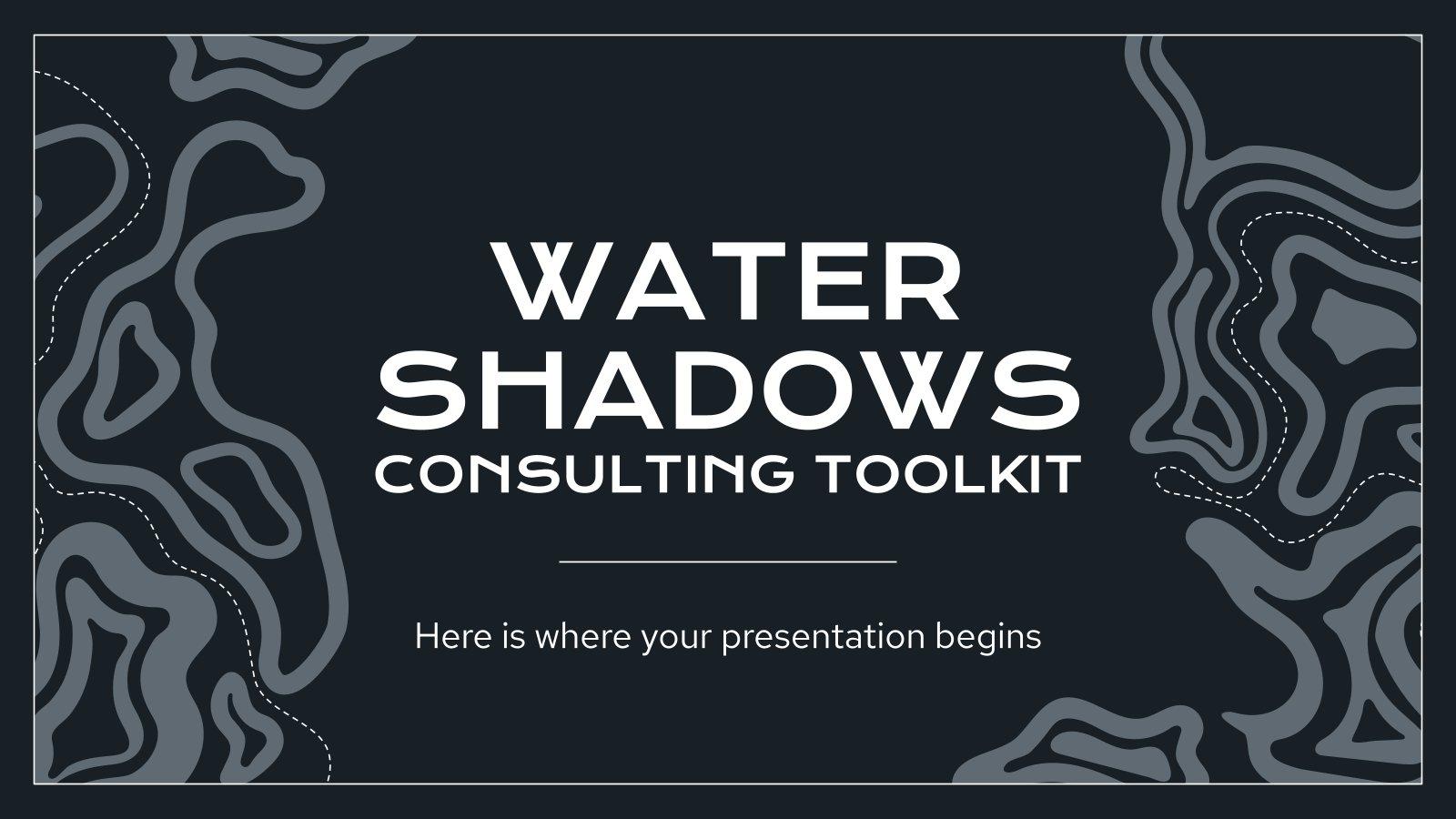 Plantilla de presentación Herramientas de consultoría con sombras de agua