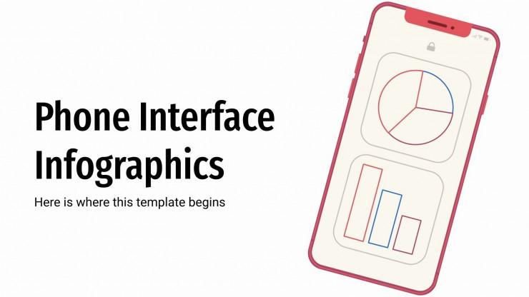 Plantilla de presentación Infografías de interfaz de un móvil
