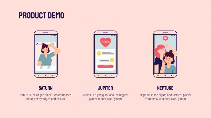 Plantilla de presentación Pitch deck para app de citas