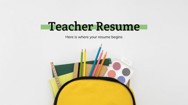 Teacher Resume presentation template