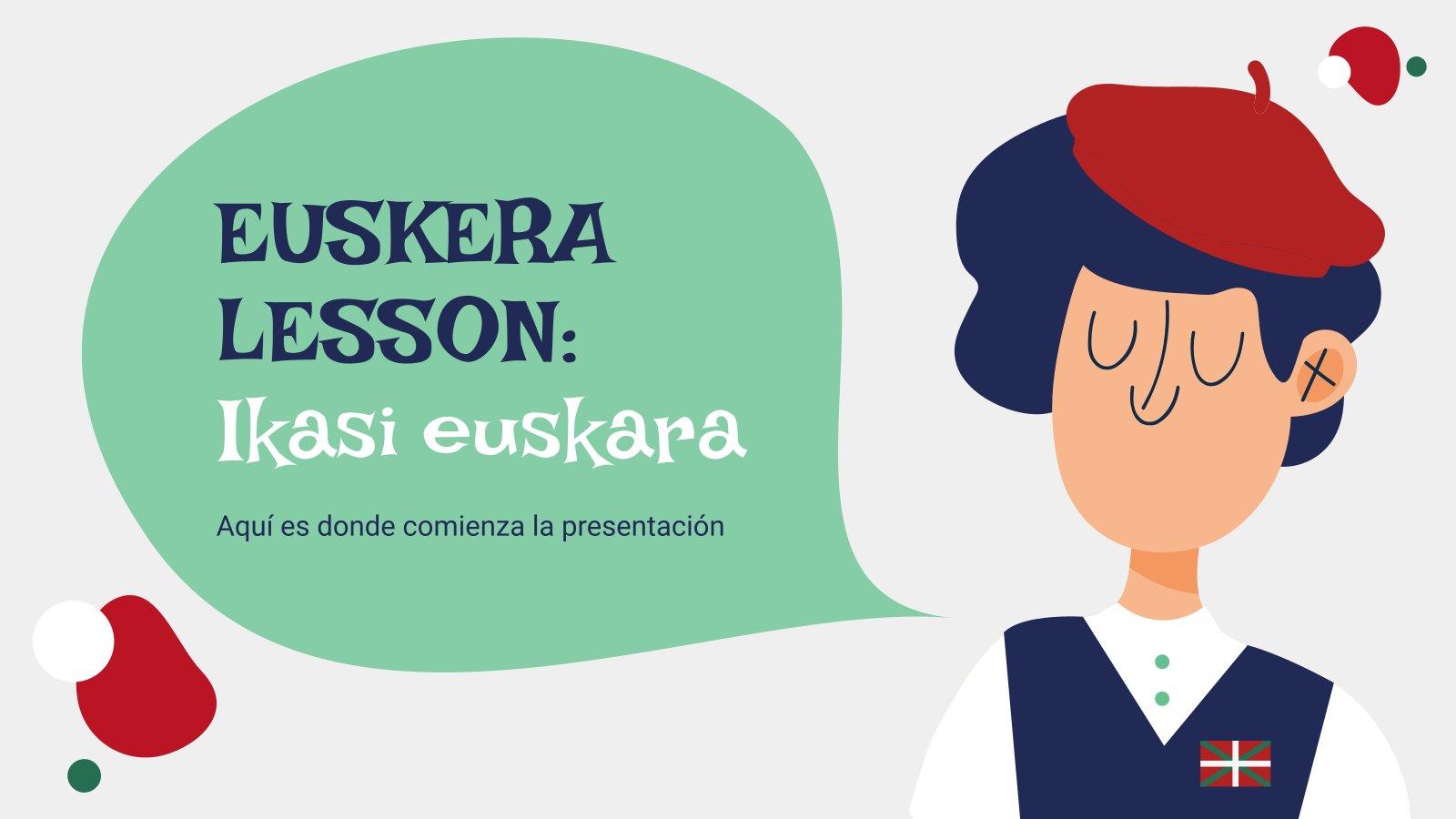 Plantilla de presentación Clase de euskera: Ikasi euskara