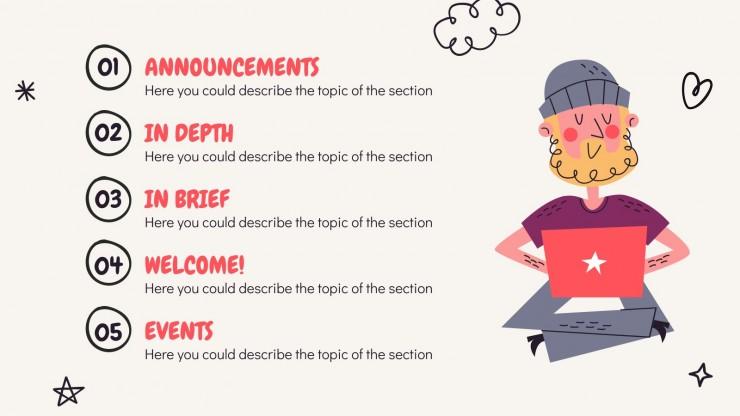 Newsletter Doodle Heureux : Modèles de présentation