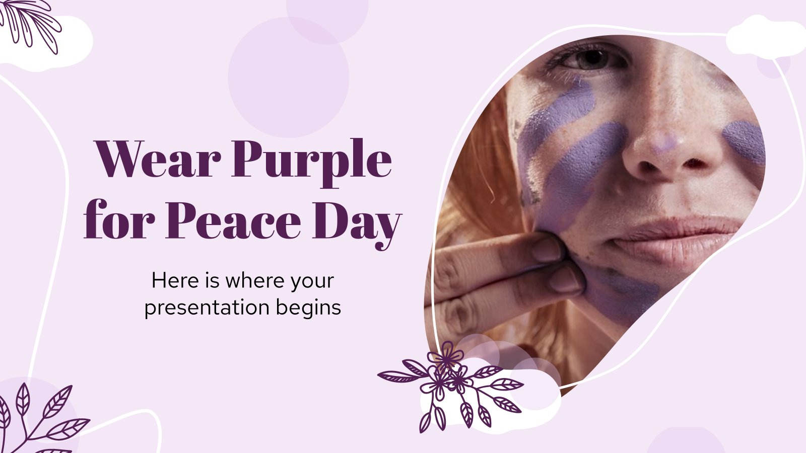 Wear Purple for Peace Day presentation template