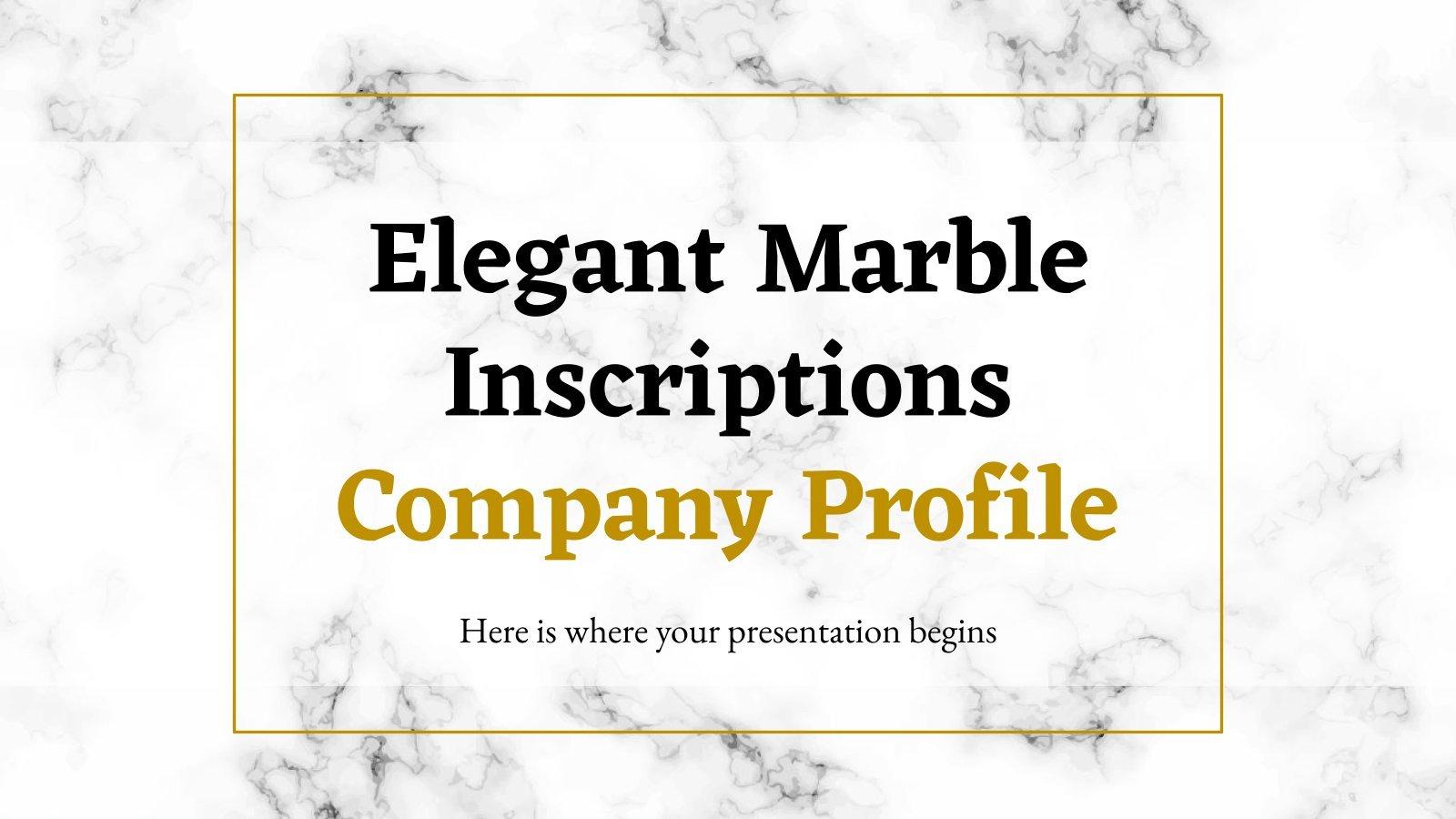 Elegant Marble Inscriptions Company Profile presentation template