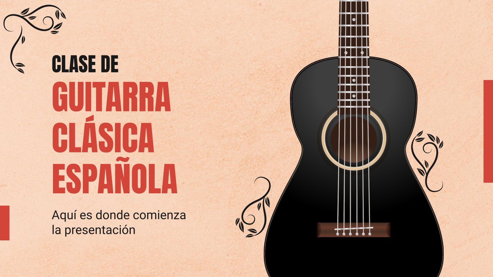 Plantilla de presentación Clase de guitarra clásica española