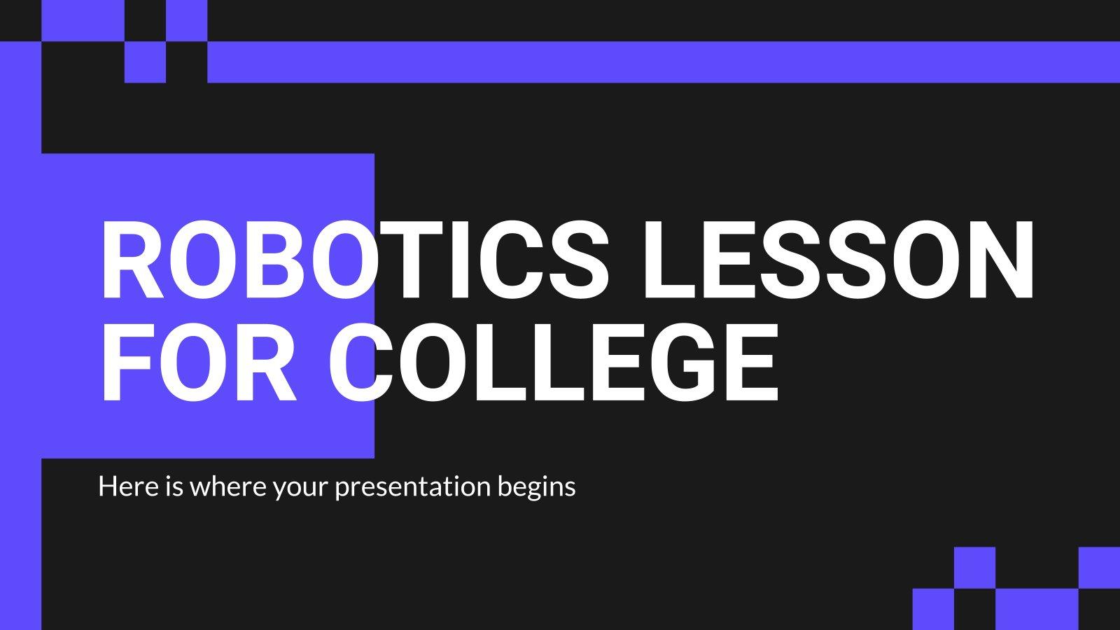 Plantilla de presentación Lección de robótica para la universidad