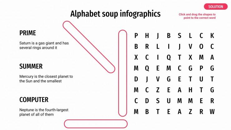 Plantilla de presentación Infografías de sopa de letras