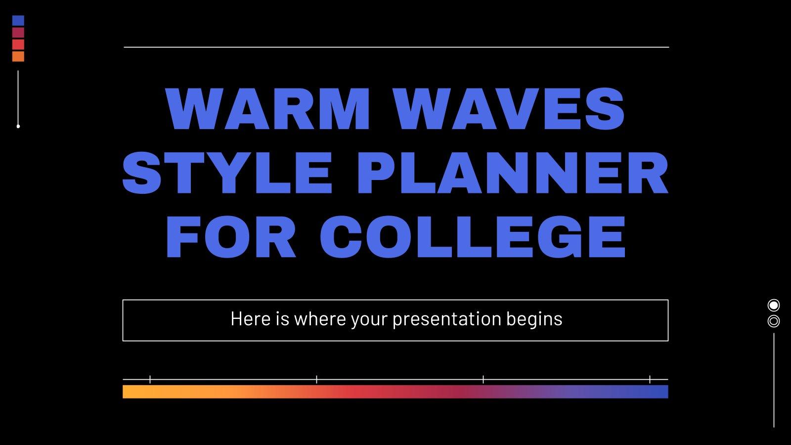 Uni-Planer mit warme Wellen Präsentationsvorlage