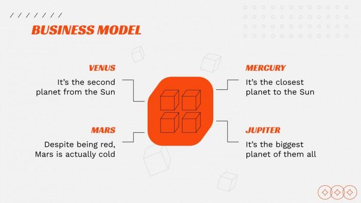 Modelo de apresentação Pitch deck com caixas 3D