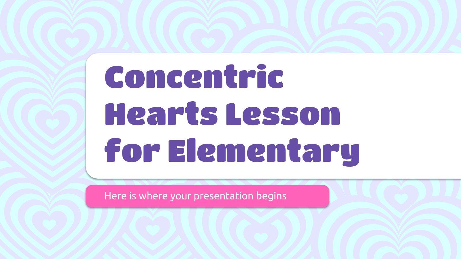 Plantilla de presentación Clase de corazones concéntricos para primaria