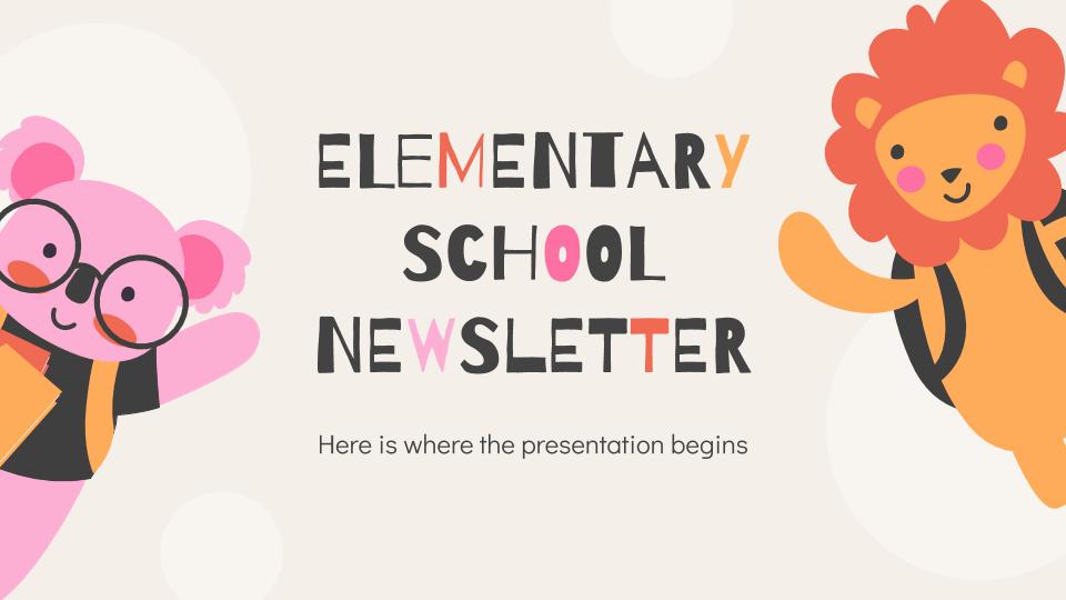 Plantilla de presentación Newsletter para colegios