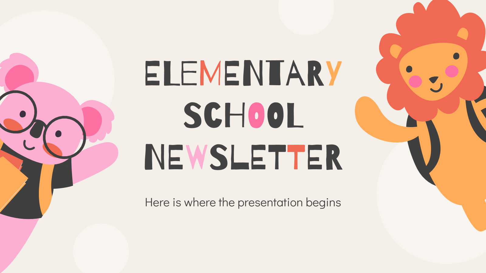 Elementary School Newsletter presentation template