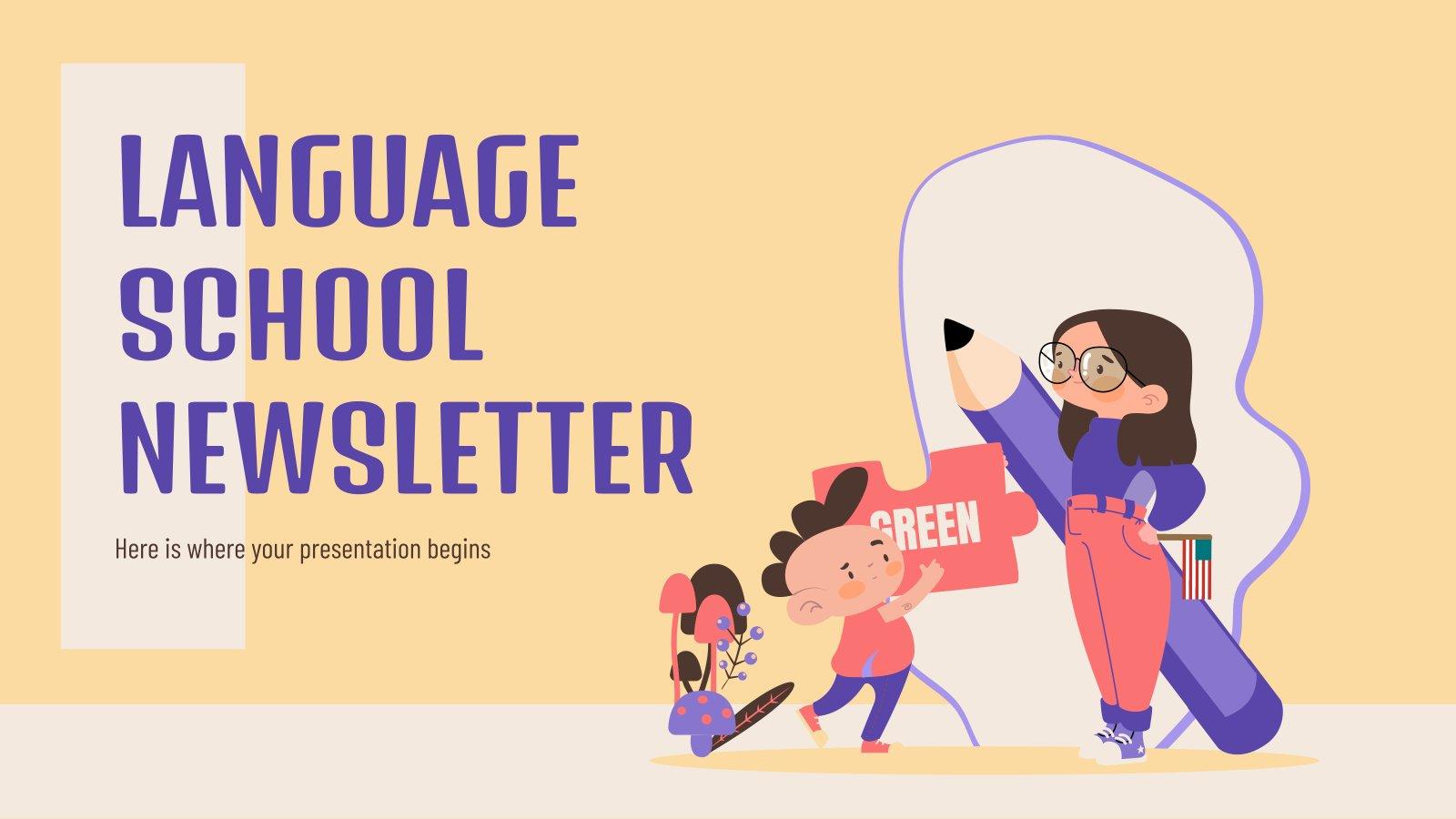 Modelo de apresentação Newsletter para escola de idiomas