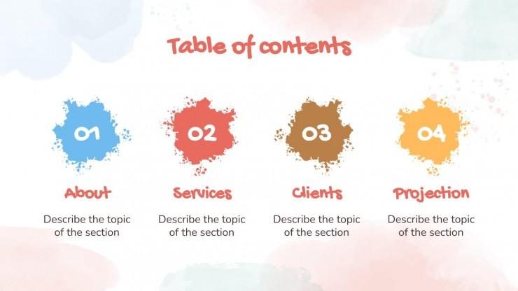 Profil de l'entreprise touches aquarelle : Modèles de présentation