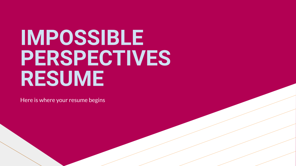 Impossible Perspectives CV presentation template