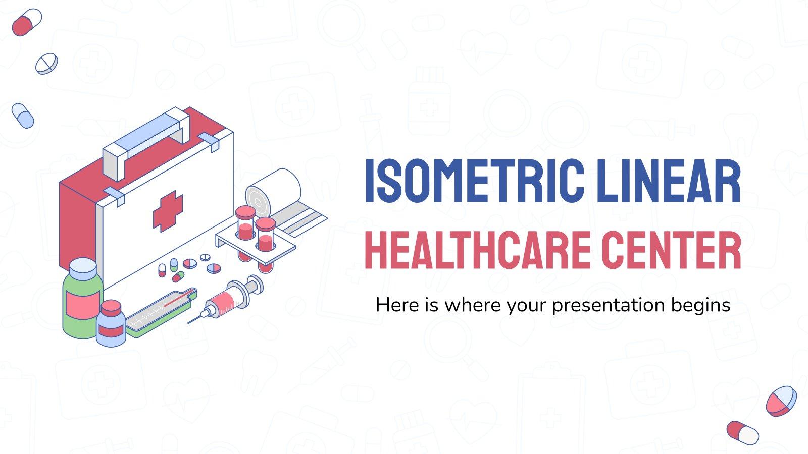 Modelo de apresentação Centro de saúde com design isométrico linear