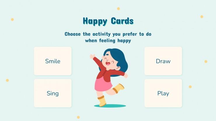 Modelo de apresentação Flashcards de emoções para a pré-escola