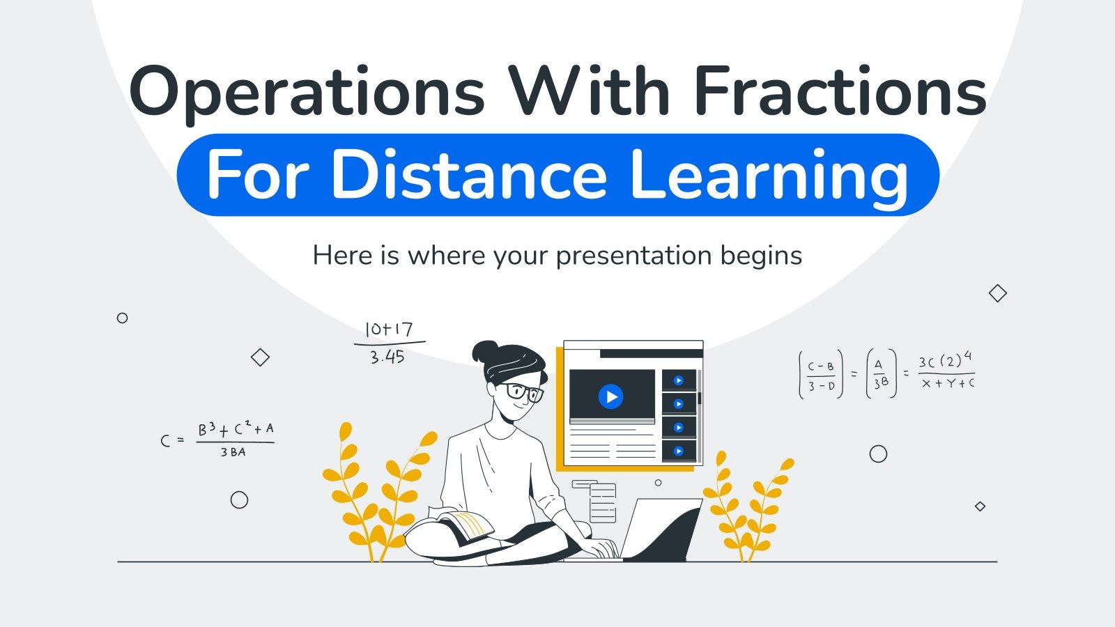 Plantilla de presentación Operaciones con fracciones para la enseñanza a distancia