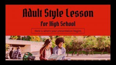 Erwachsenen-Stil Lektion für High School Präsentationsvorlage