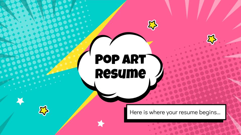 Plantilla de presentación CV con estilo pop art