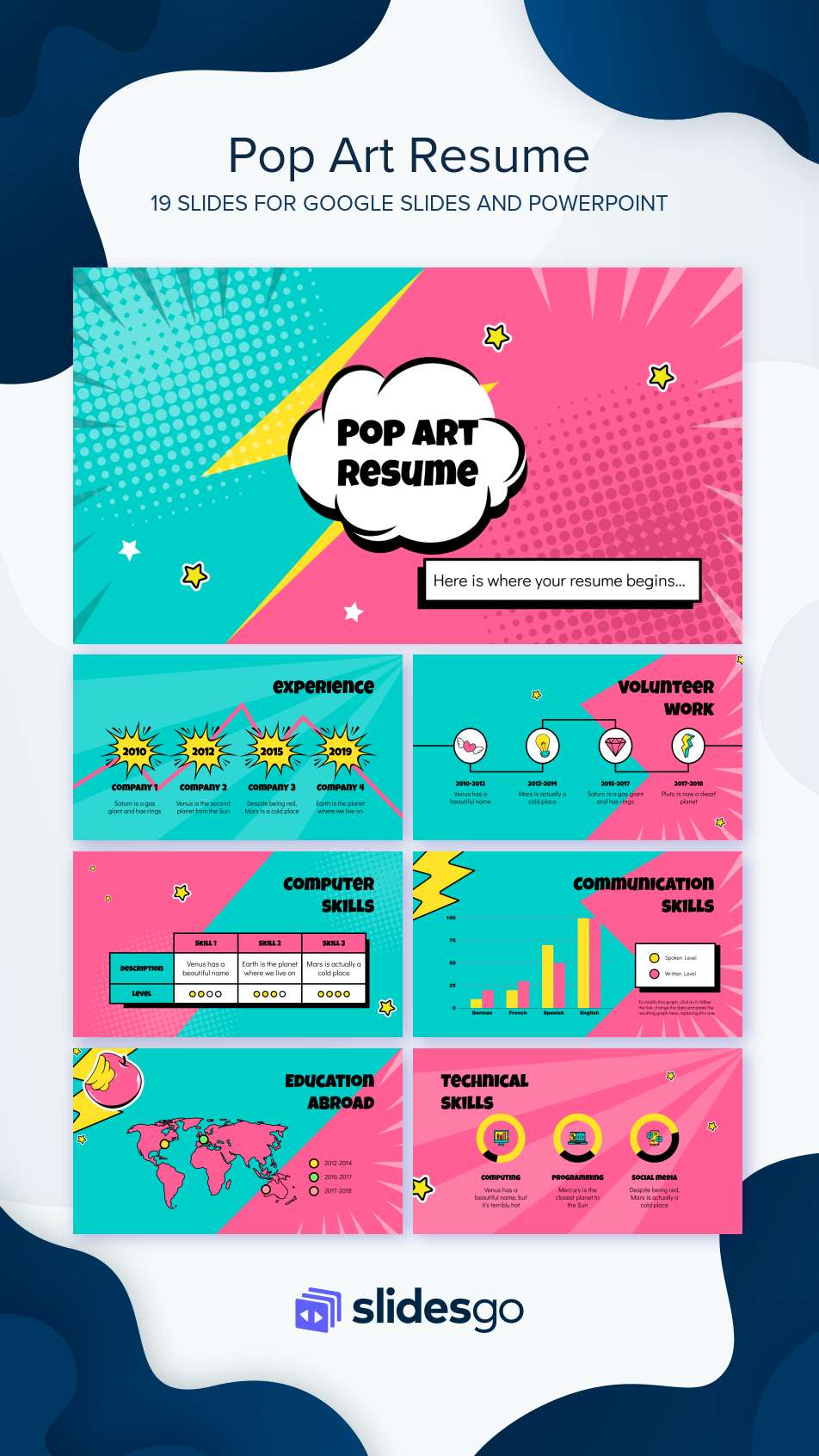 pop art resume google slides theme and powerpoint template