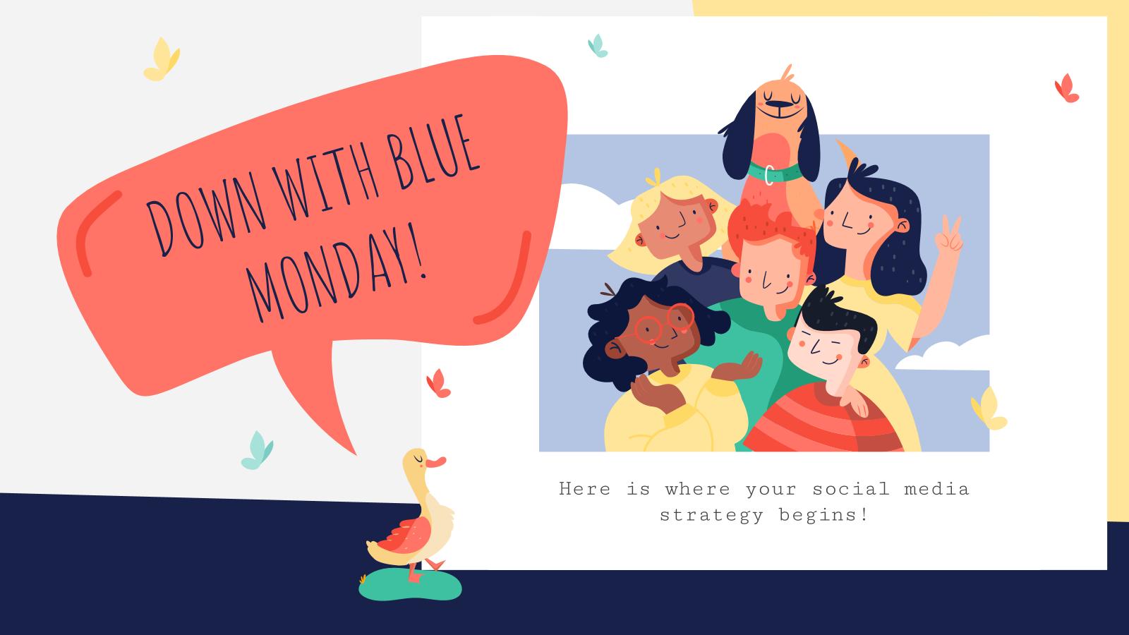 Modelo de apresentação Mídia social para o Blue Monday