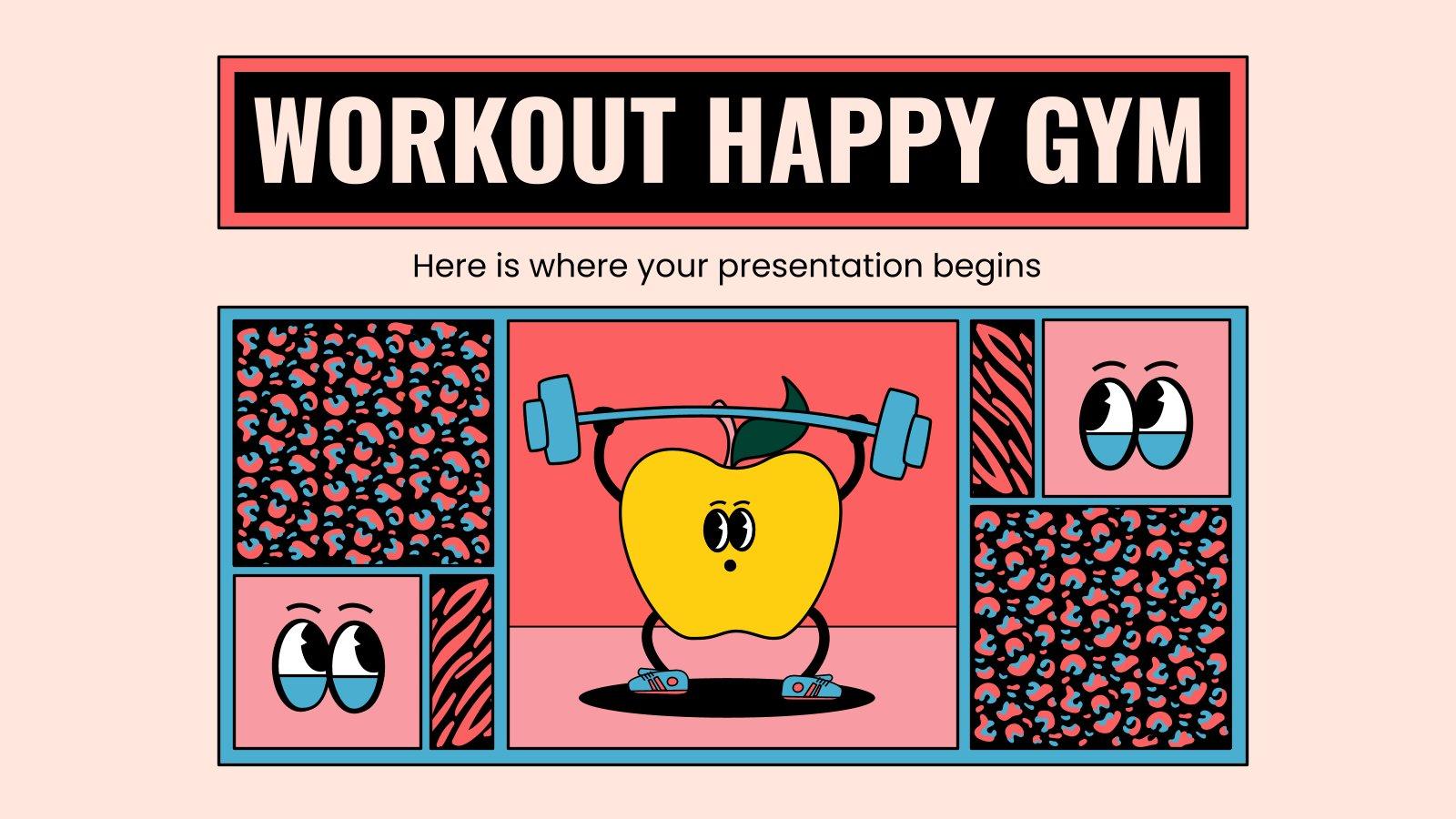 Workout Happy Gym Präsentationsvorlage