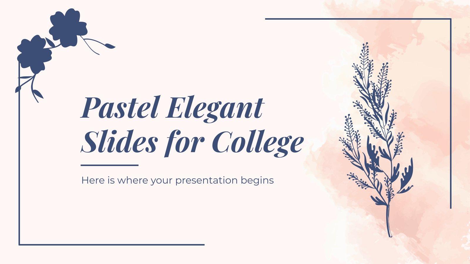 Diapositives élégantes de couleur pastel pour le collège : Modèles de présentation