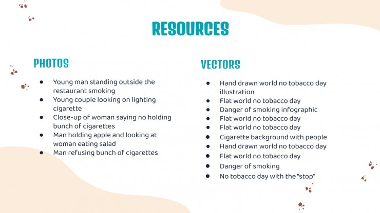 Journée mondiale sans tabac : Modèles de présentation