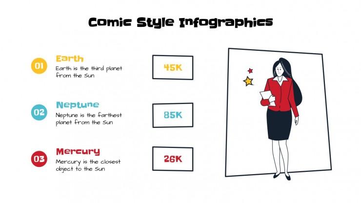 Plantilla de presentación Infografías estilo cómic