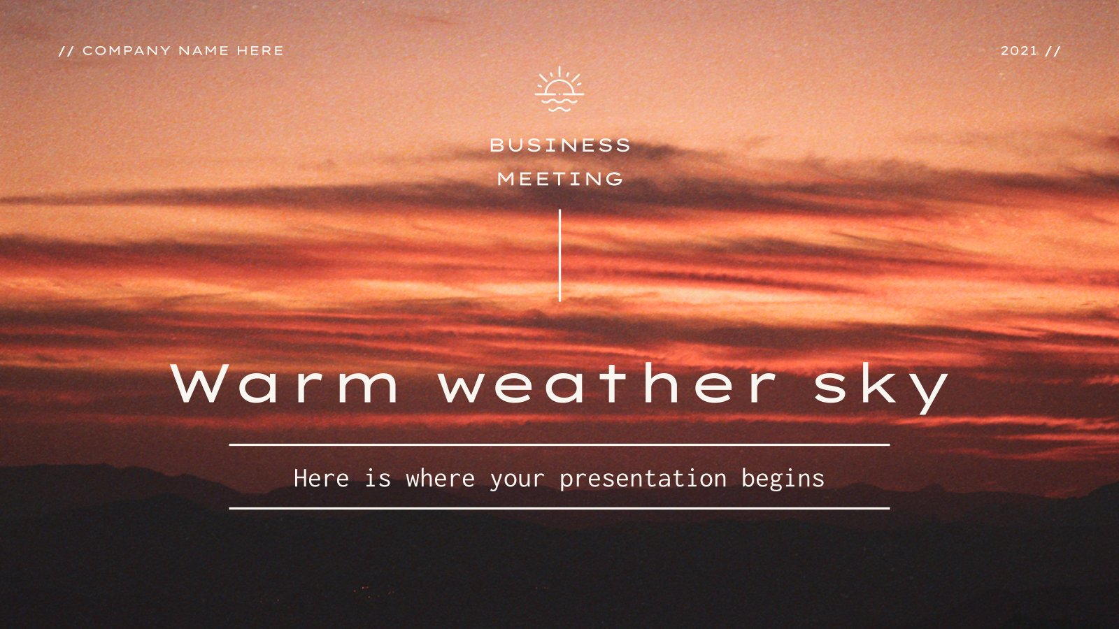 Warm Weather Sky Business Meeting presentation template