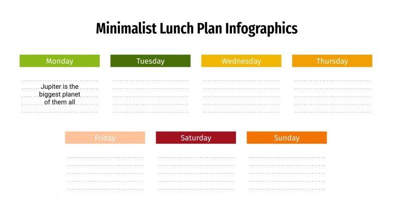 Infographies minimalistes de planification des repas : Modèles de présentation